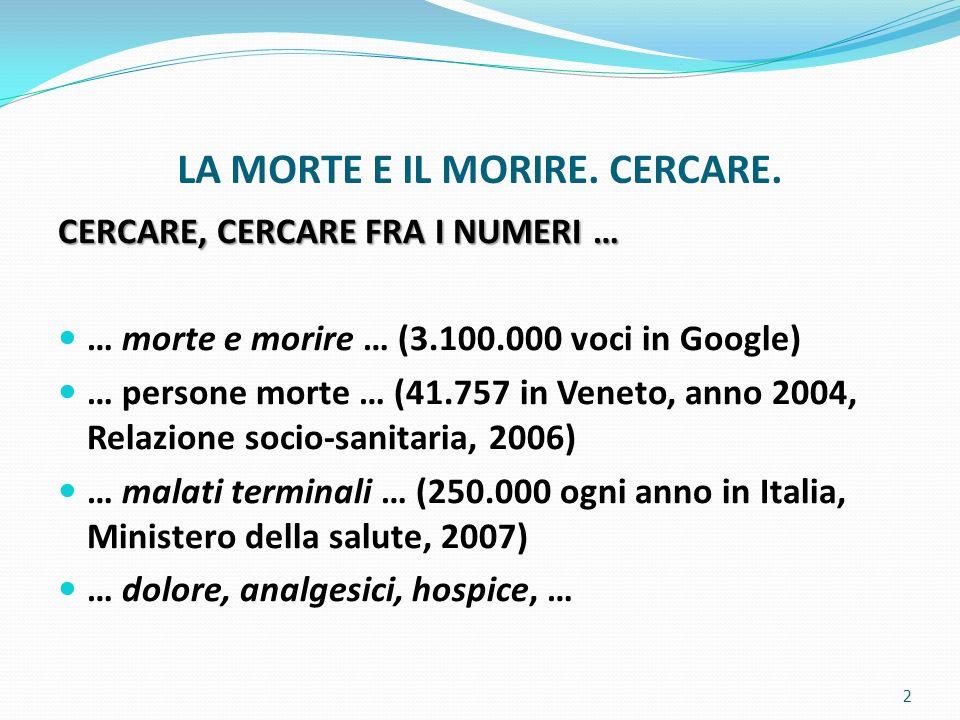 LA MORTE E IL MORIRE. CERCARE. CERCARE, CERCARE FRA I NUMERI … … morte e morire … (3.100.000 voci in Google) … persone morte … (41.757 in Veneto, anno
