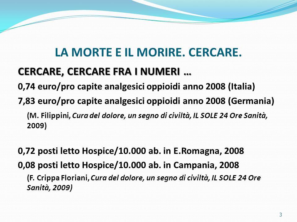 LA MORTE E IL MORIRE. CERCARE. CERCARE, CERCARE FRA I NUMERI … 0,74 euro/pro capite analgesici oppioidi anno 2008 (Italia) 7,83 euro/pro capite analge