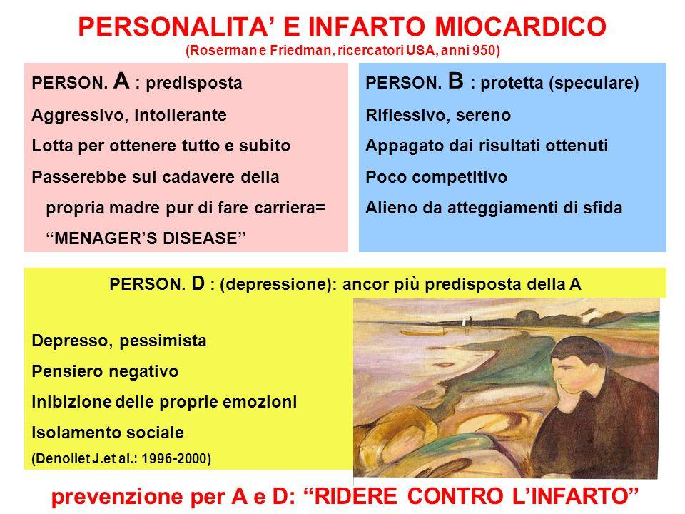PERSONALITA E INFARTO MIOCARDICO (Roserman e Friedman, ricercatori USA, anni 950) PERSON.