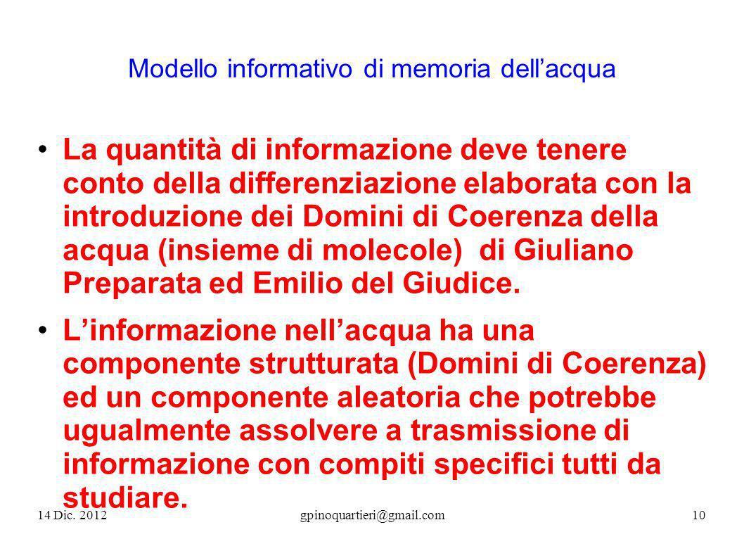 Modello informativo di memoria dellacqua La quantità di informazione deve tenere conto della differenziazione elaborata con la introduzione dei Domini