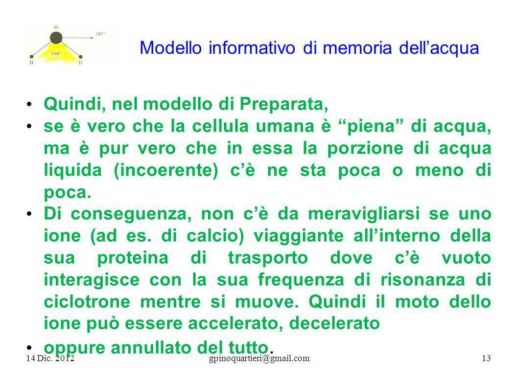 Modello informativo di memoria dellacqua 14 Dic. 201213gpinoquartieri@gmail.com Quindi, nel modello di Preparata, se è vero che la cellula umana è pie