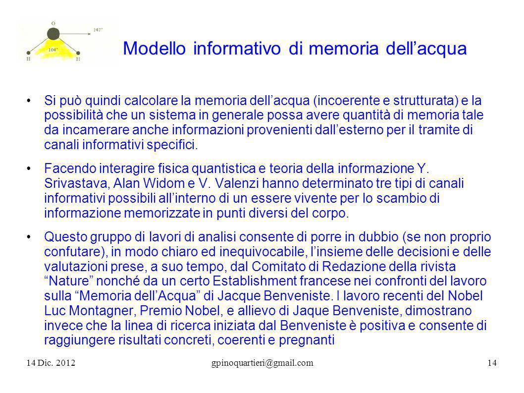 Modello informativo di memoria dellacqua Si può quindi calcolare la memoria dellacqua (incoerente e strutturata) e la possibilità che un sistema in ge