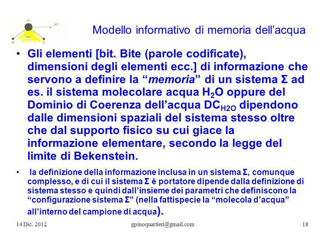 Modello informativo di memoria dellacqua Gli elementi [bit. Bite (parole codificate), dimensioni degli elementi ecc.] di informazione che servono a de