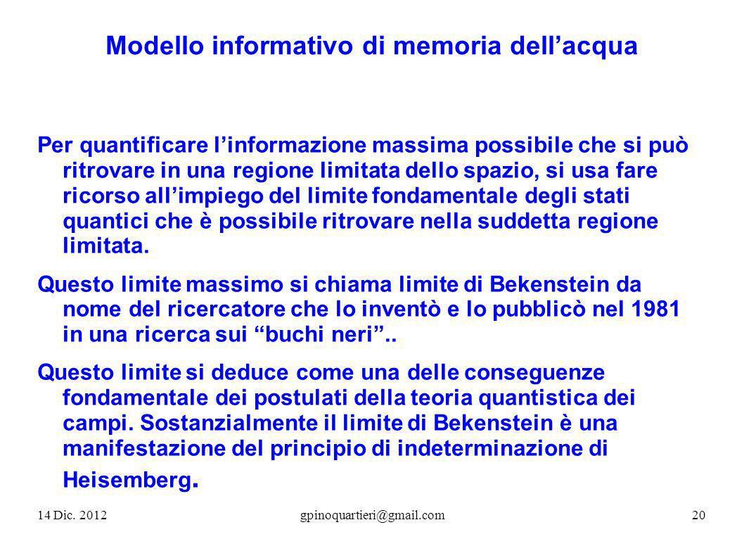 Modello informativo di memoria dellacqua Per quantificare linformazione massima possibile che si può ritrovare in una regione limitata dello spazio, s