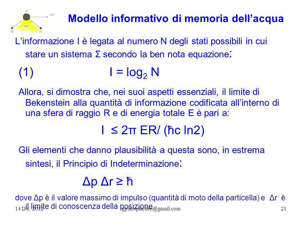 Modello informativo di memoria dellacqua Linformazione I è legata al numero N degli stati possibili in cui stare un sistema Σ secondo la ben nota equa