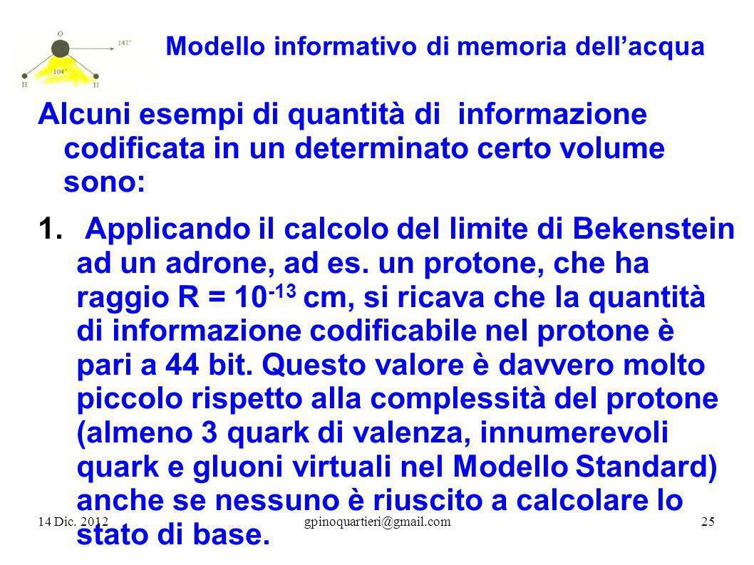 Modello informativo di memoria dellacqua Alcuni esempi di quantità di informazione codificata in un determinato certo volume sono: 1. Applicando il ca