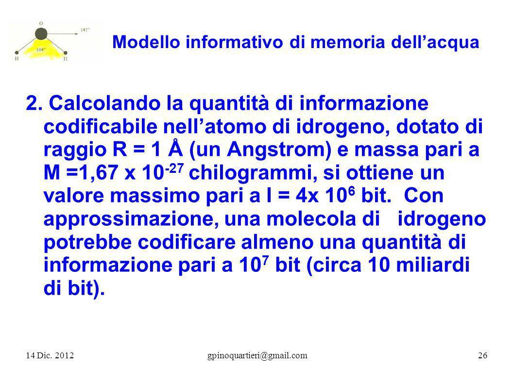 Modello informativo di memoria dellacqua 2. Calcolando la quantità di informazione codificabile nellatomo di idrogeno, dotato di raggio R = 1 Å (un An