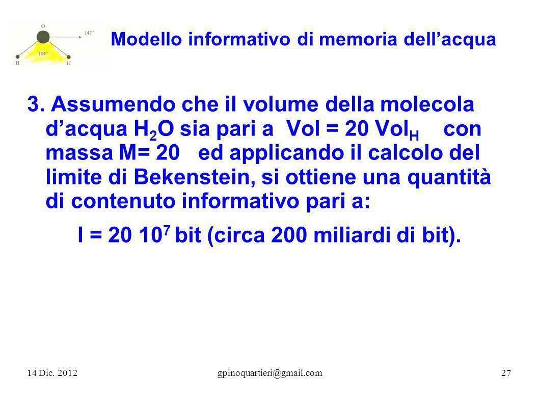 Modello informativo di memoria dellacqua 3. Assumendo che il volume della molecola dacqua H 2 O sia pari a Vol = 20 Vol H con massa M= 20 ed applicand