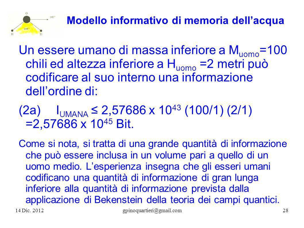 Modello informativo di memoria dellacqua Un essere umano di massa inferiore a M uomo =100 chili ed altezza inferiore a H uomo =2 metri può codificare
