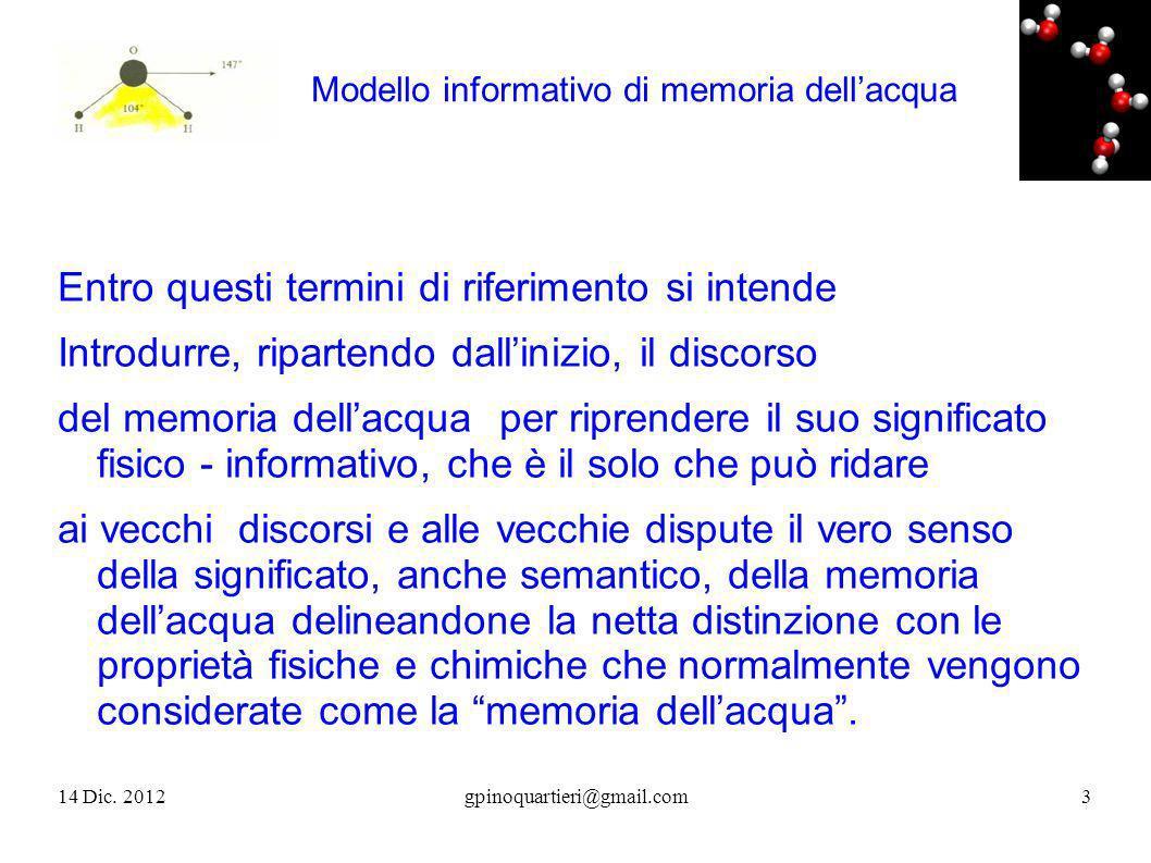 Modello informativo di memoria dellacqua Entro questi termini di riferimento si intende Introdurre, ripartendo dallinizio, il discorso del memoria del