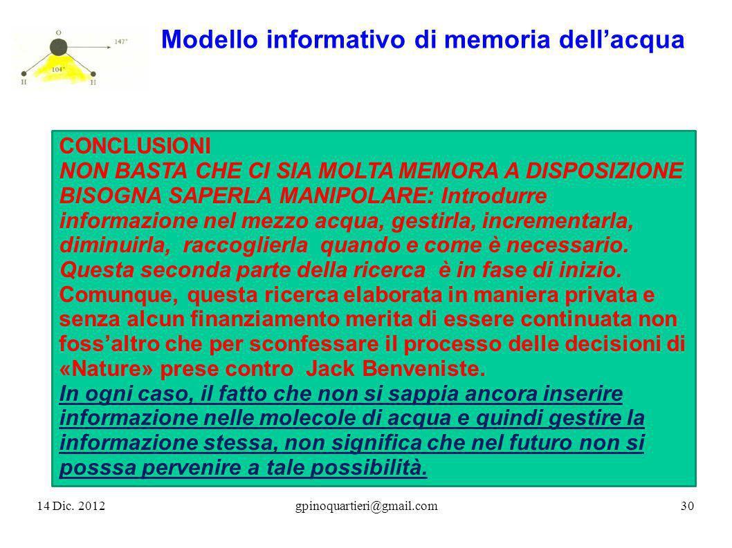 14 Dic. 201230gpinoquartieri@gmail.com Modello informativo di memoria dellacqua CONCLUSIONI NON BASTA CHE CI SIA MOLTA MEMORA A DISPOSIZIONE BISOGNA S