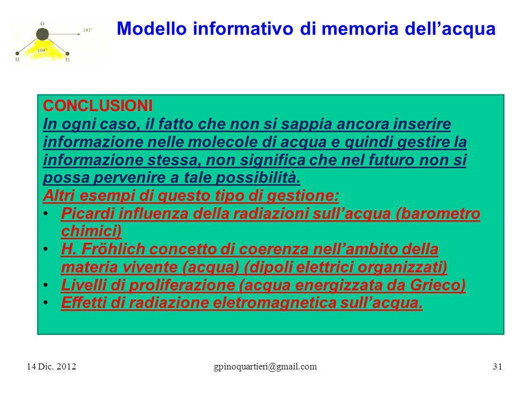 14 Dic. 201231gpinoquartieri@gmail.com Modello informativo di memoria dellacqua CONCLUSIONI In ogni caso, il fatto che non si sappia ancora inserire i