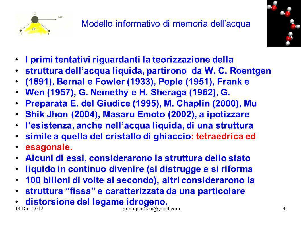 Modello informativo di memoria dellacqua I primi tentativi riguardanti la teorizzazione della struttura dellacqua liquida, partirono da W. C. Roentgen