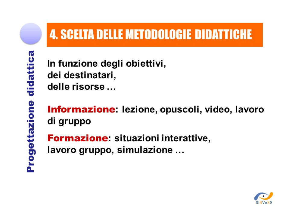 In funzione degli obiettivi, dei destinatari, delle risorse … Informazione : lezione, opuscoli, video, lavoro di gruppo Formazione : situazioni intera