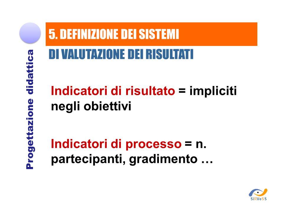 Indicatori di risultato = impliciti negli obiettivi Indicatori di processo = n. partecipanti, gradimento … Progettazione didattica 5. DEFINIZIONE DEI