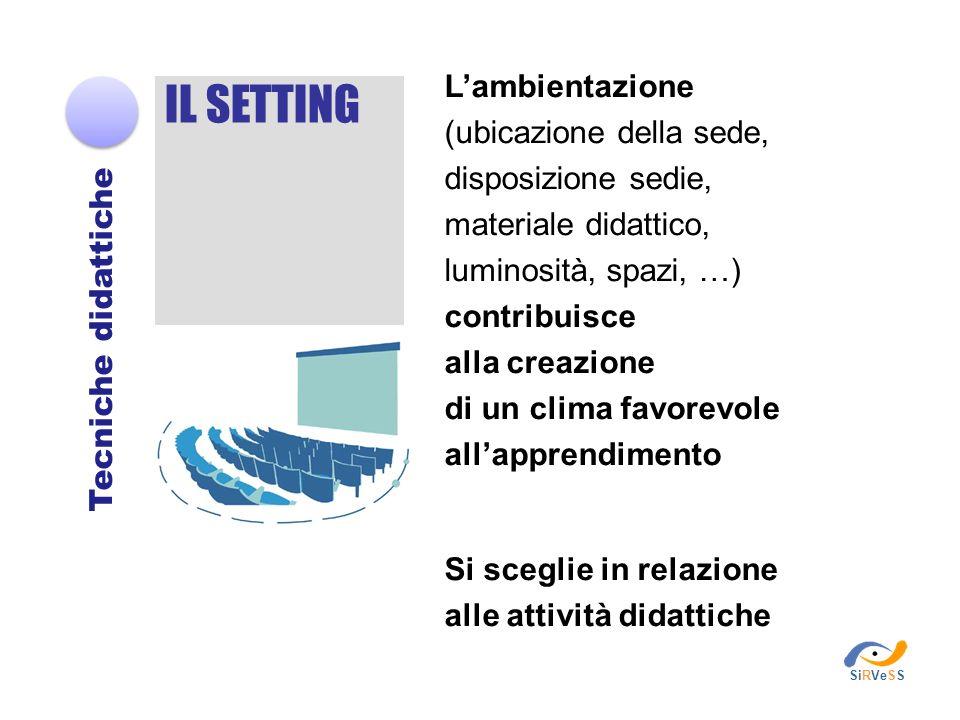 IL SETTING Tecniche didattiche Lambientazione (ubicazione della sede, disposizione sedie, materiale didattico, luminosità, spazi, …) contribuisce alla