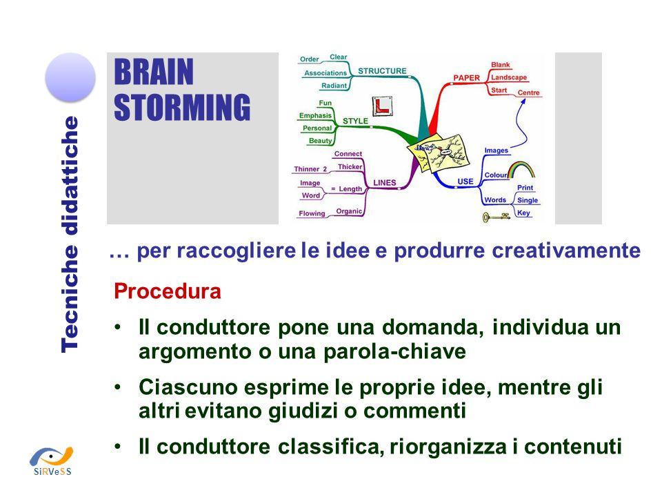 BRAIN STORMING Tecniche didattiche … per raccogliere le idee e produrre creativamente Procedura Il conduttore pone una domanda, individua un argomento