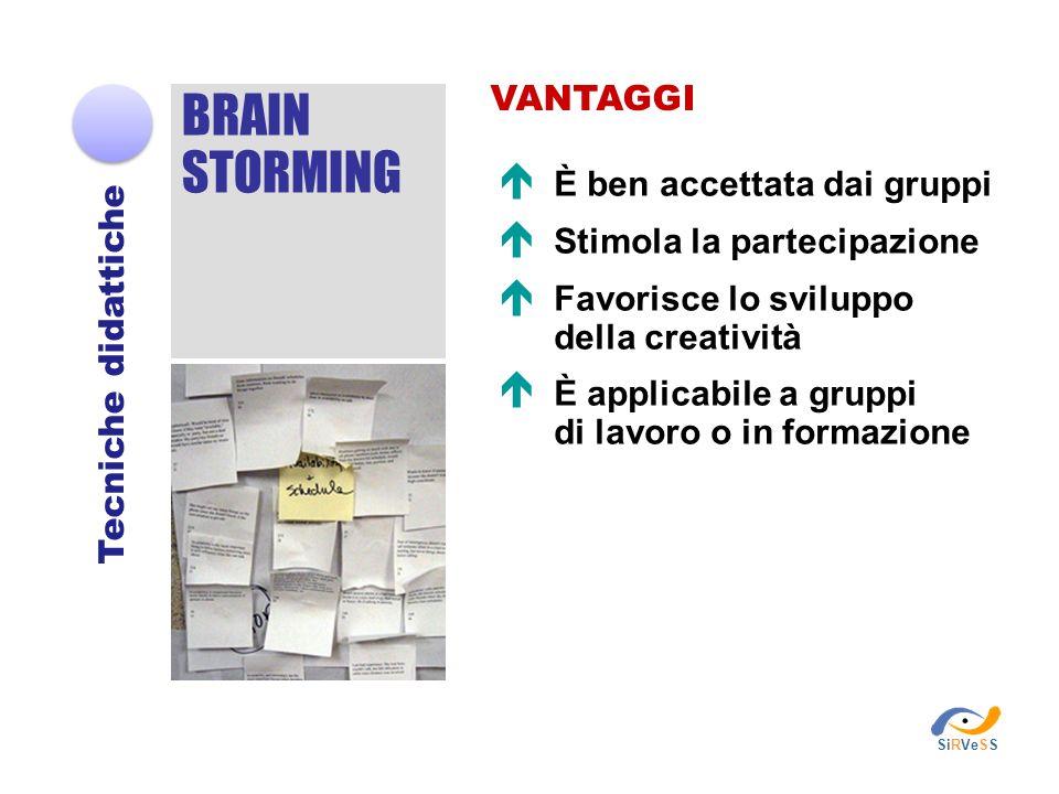 BRAIN STORMING Tecniche didattiche VANTAGGI È ben accettata dai gruppi Stimola la partecipazione Favorisce lo sviluppo della creatività È applicabile