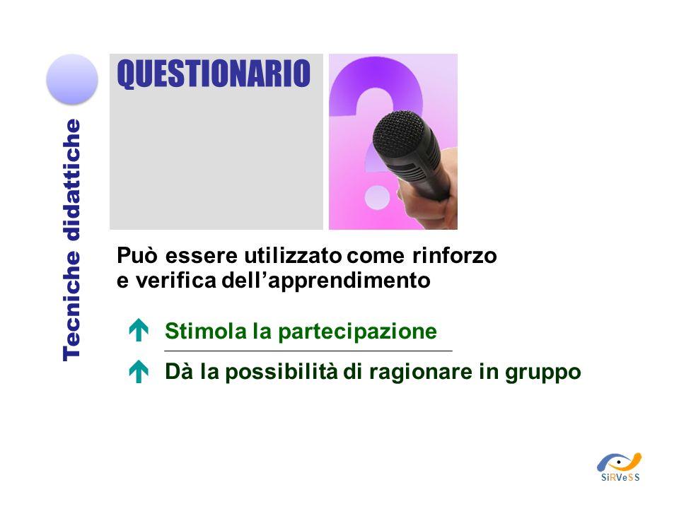 Stimola la partecipazione Dà la possibilità di ragionare in gruppo QUESTIONARIO Tecniche didattiche Può essere utilizzato come rinforzo e verifica del