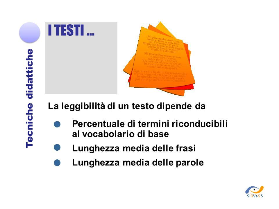 Tecniche didattiche I TESTI … La leggibilità di un testo dipende da Percentuale di termini riconducibili al vocabolario di base Lunghezza media delle
