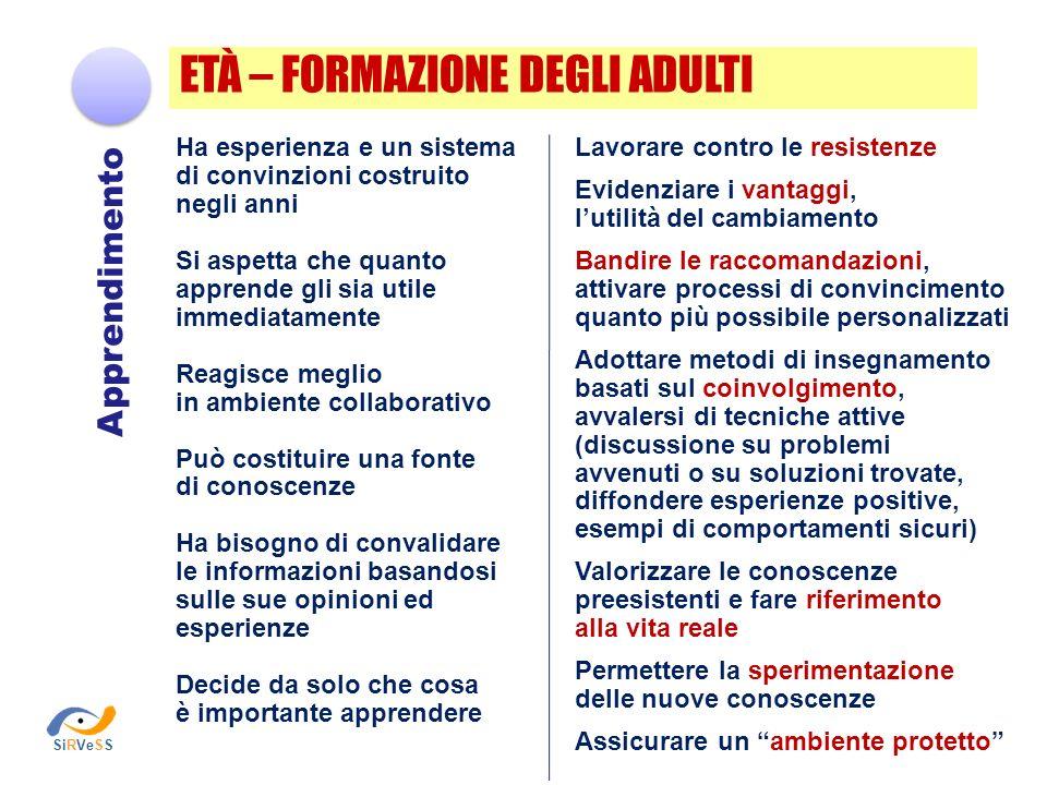 ETÀ – FORMAZIONE DEGLI ADULTI Ha esperienza e un sistema di convinzioni costruito negli anni Si aspetta che quanto apprende gli sia utile immediatamen