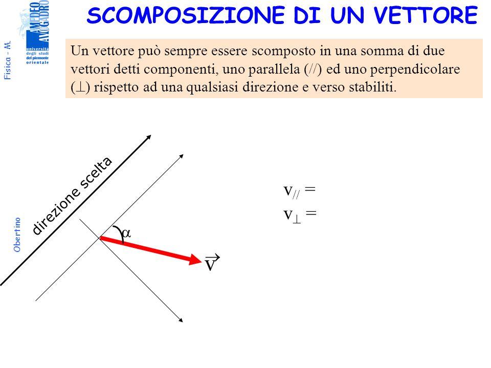 Fisica - M. Obertino v direzione scelta v // = v = Un vettore può sempre essere scomposto in una somma di due vettori detti componenti, uno parallela