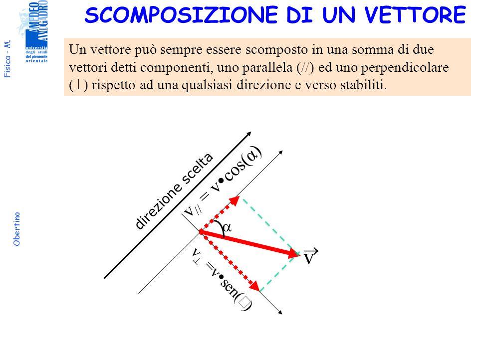 Fisica - M. Obertino v direzione scelta v // = v cos(α) Un vettore può sempre essere scomposto in una somma di due vettori detti componenti, uno paral