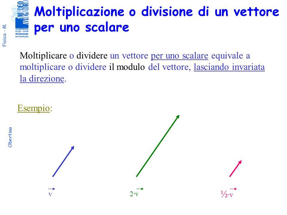 Fisica - M. Obertino Moltiplicazione o divisione di un vettore per uno scalare Moltiplicare o dividere un vettore per uno scalare equivale a moltiplic