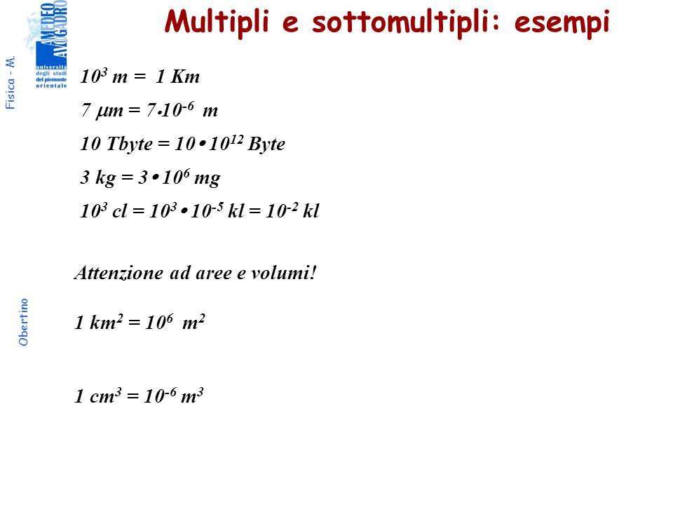 Fisica - M. Obertino Multipli e sottomultipli: esempi 10 3 m = 1 Km 7 m = 7 10 -6 m 10 Tbyte = 10 10 12 Byte 3 kg = 3 10 6 mg 10 3 cl = 10 3 10 -5 kl