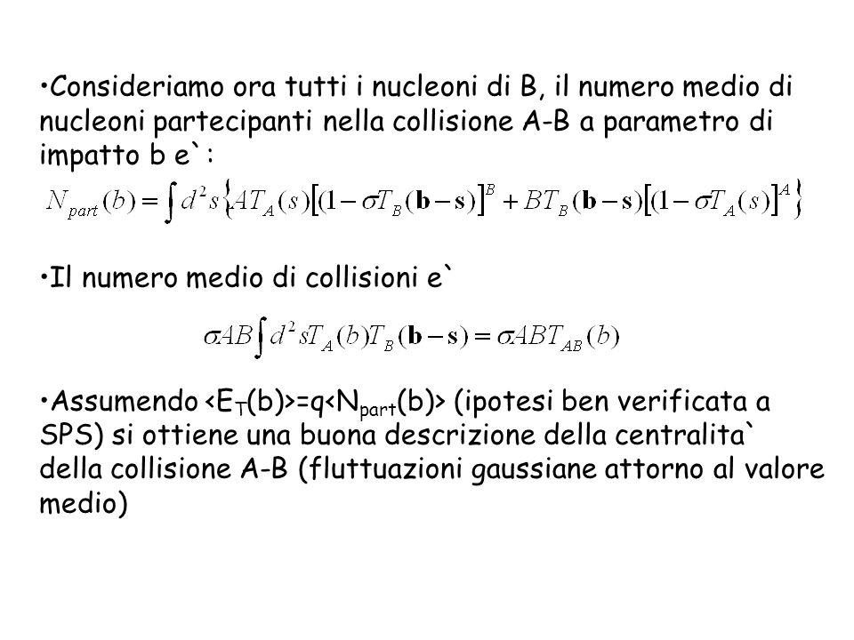 Consideriamo ora tutti i nucleoni di B, il numero medio di nucleoni partecipanti nella collisione A-B a parametro di impatto b e`: Il numero medio di