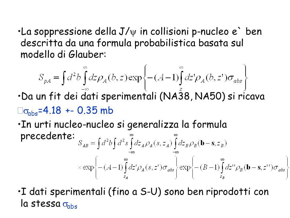 La soppressione della J/ in collisioni p-nucleo e` ben descritta da una formula probabilistica basata sul modello di Glauber: Da un fit dei dati speri