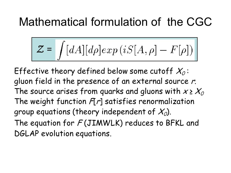 Mathematical formulation of the CGC Effective theory defined below some cutoff X 0 : gluon field in the presence of an external source r. The source a