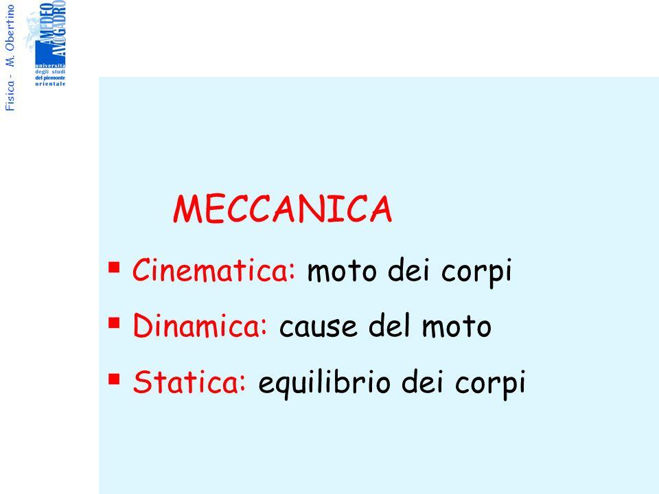 Fisica - M. Obertino MECCANICA Cinematica: moto dei corpi Dinamica: cause del moto Statica: equilibrio dei corpi