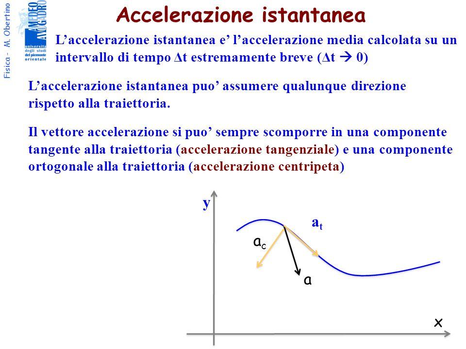 Fisica - M. Obertino Accelerazione istantanea Il vettore accelerazione si puo sempre scomporre in una componente tangente alla traiettoria (accelerazi