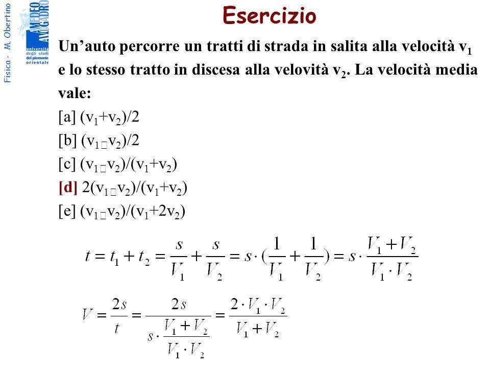 Fisica - M. Obertino Esercizio Unauto percorre un tratti di strada in salita alla velocità v 1 e lo stesso tratto in discesa alla velovità v 2. La vel