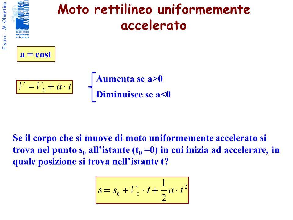 Fisica - M. Obertino Se il corpo che si muove di moto uniformemente accelerato si trova nel punto s 0 allistante (t 0 =0) in cui inizia ad accelerare,