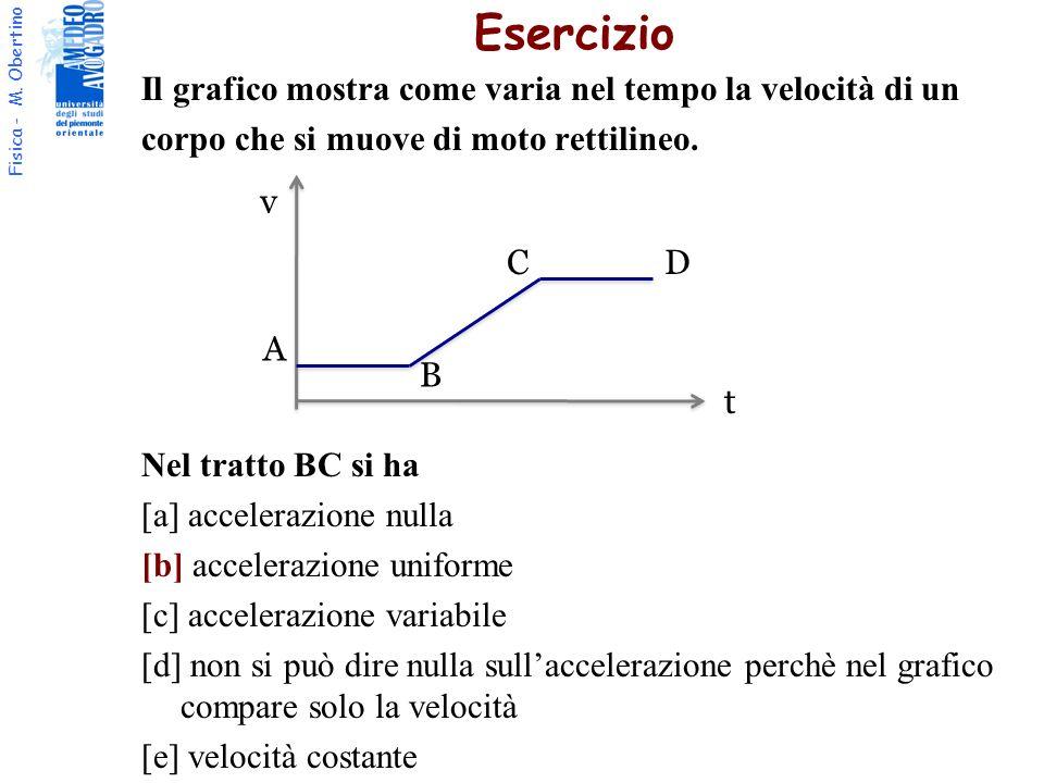 Fisica - M. Obertino Il grafico mostra come varia nel tempo la velocità di un corpo che si muove di moto rettilineo. Nel tratto BC si ha [a] acceleraz