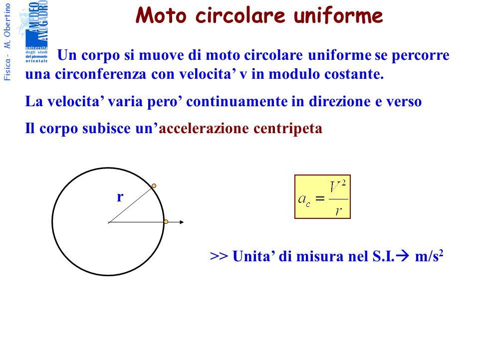 Fisica - M. Obertino r Moto circolare uniforme Un corpo si muove di moto circolare uniforme se percorre una circonferenza con velocita v in modulo cos