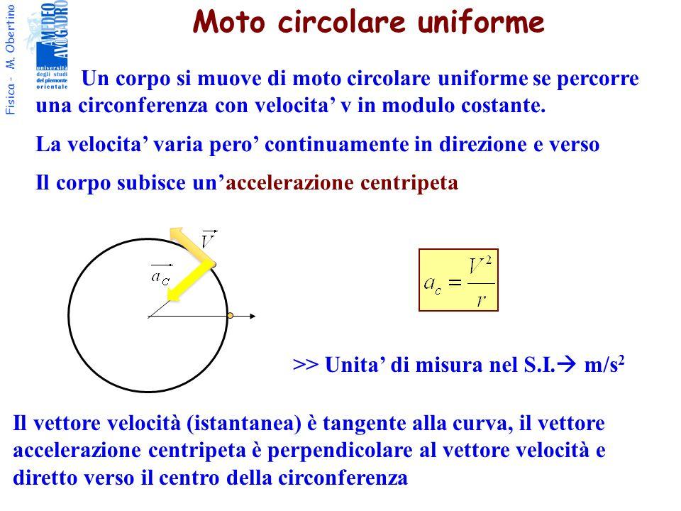 Fisica - M. Obertino Un corpo si muove di moto circolare uniforme se percorre una circonferenza con velocita v in modulo costante. La velocita varia p