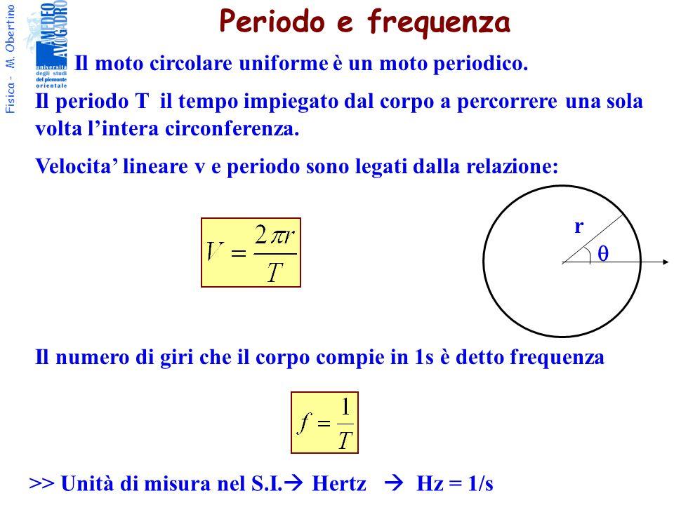 Fisica - M. Obertino r Periodo e frequenza Il moto circolare uniforme è un moto periodico. Il periodo T il tempo impiegato dal corpo a percorrere una
