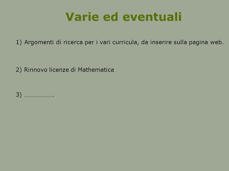 Varie ed eventuali 1)Argomenti di ricerca per i vari curricula, da inserire sulla pagina web.