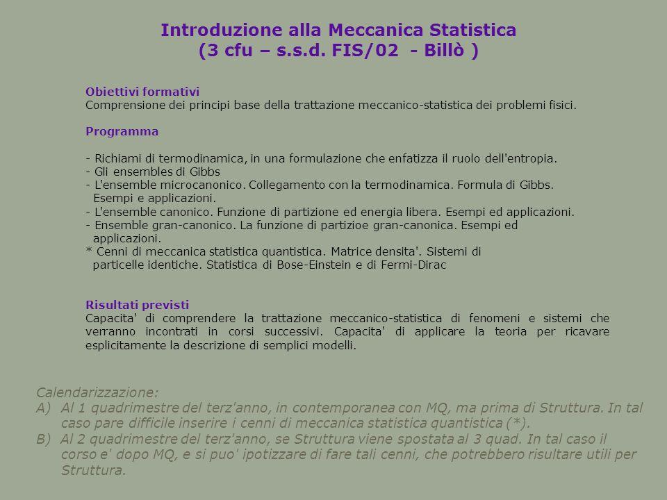 Introduzione alla Meccanica Statistica (3 cfu – s.s.d.