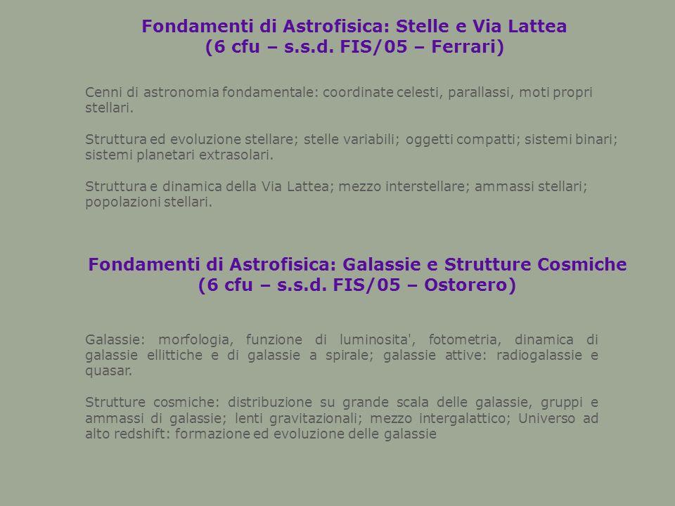 Fondamenti di Astrofisica: Stelle e Via Lattea (6 cfu – s.s.d.