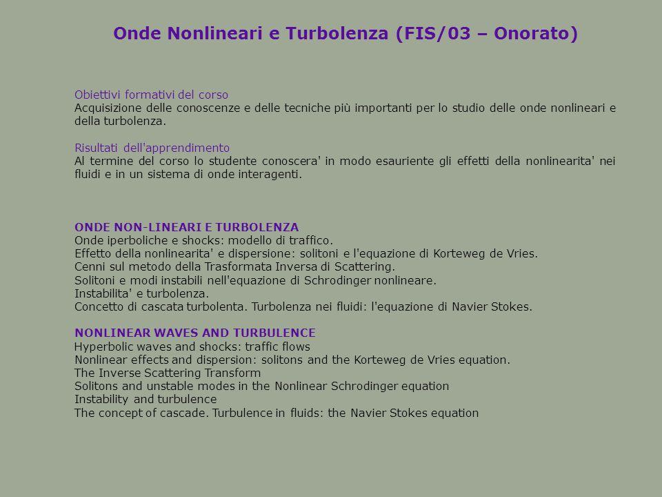 Onde Nonlineari e Turbolenza (FIS/03 – Onorato) Obiettivi formativi del corso Acquisizione delle conoscenze e delle tecniche più importanti per lo studio delle onde nonlineari e della turbolenza.