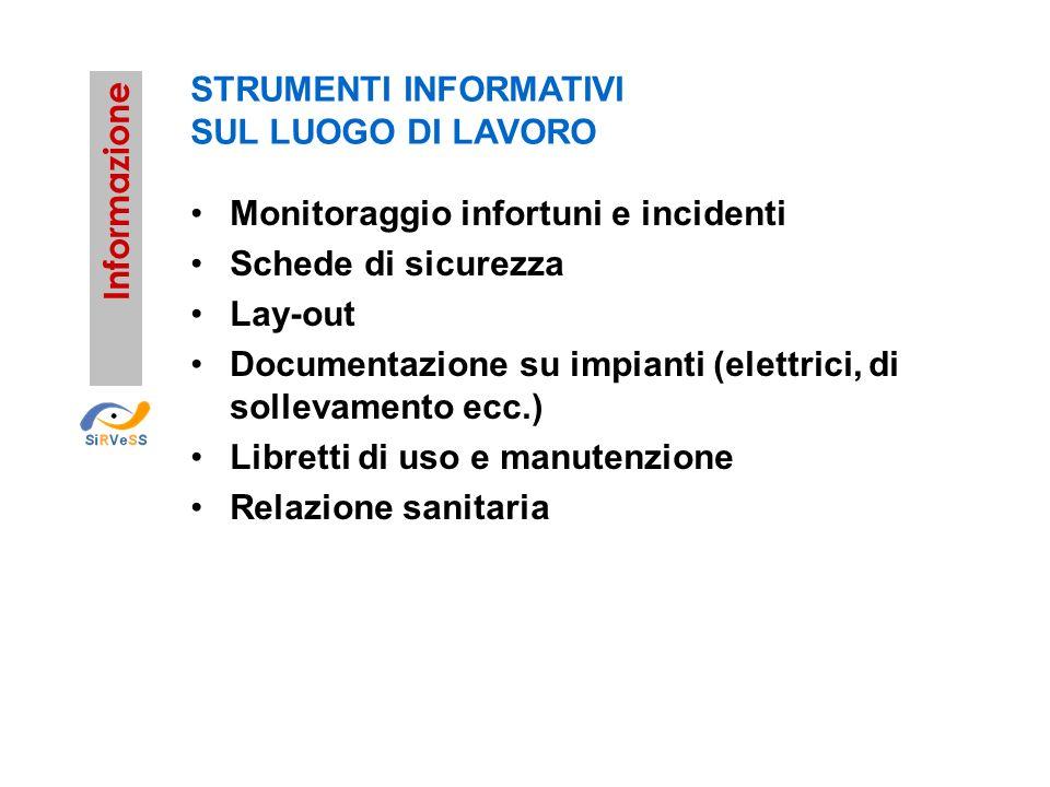 STRUMENTI INFORMATIVI SUL LUOGO DI LAVORO Monitoraggio infortuni e incidenti Schede di sicurezza Lay-out Documentazione su impianti (elettrici, di sol