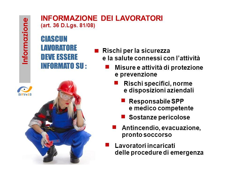 Informazione Rischi per la sicurezza e la salute connessi con lattività Misure e attività di protezione e prevenzione Rischi specifici, norme e dispos