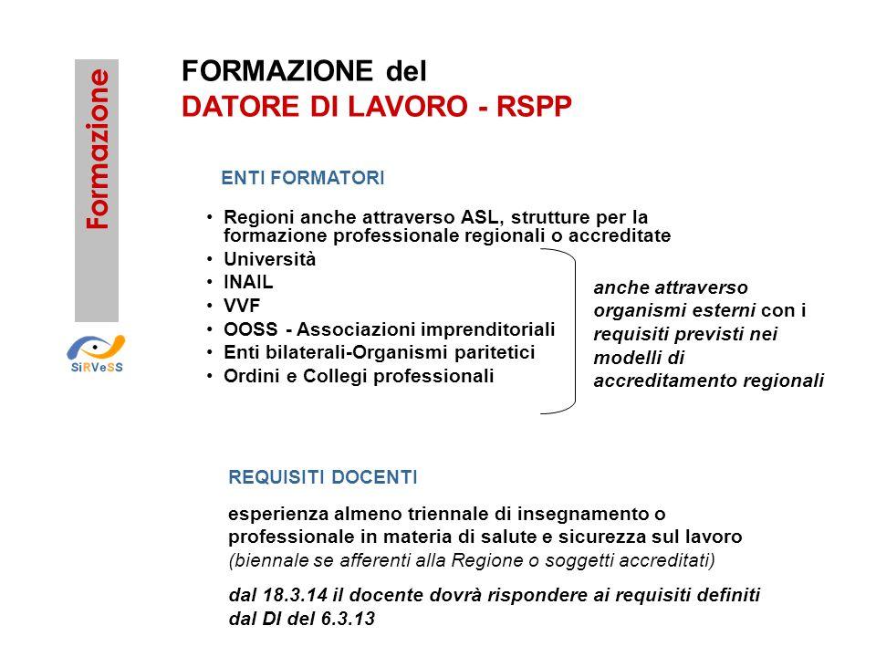 FORMAZIONE del DATORE DI LAVORO - RSPP Formazione Regioni anche attraverso ASL, strutture per la formazione professionale regionali o accreditate Univ