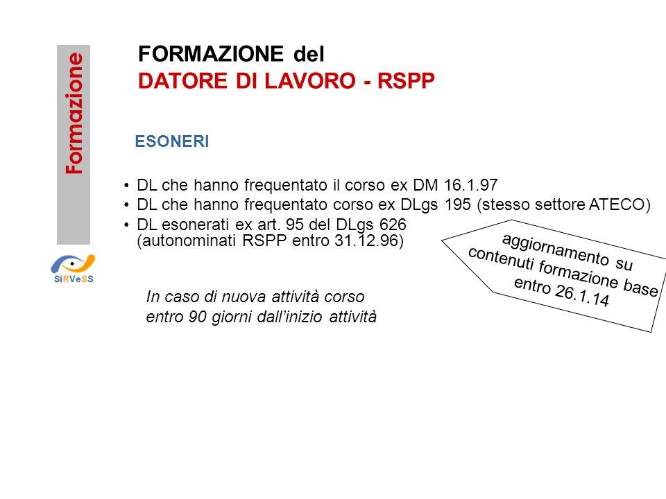 FORMAZIONE del DATORE DI LAVORO - RSPP Formazione DL che hanno frequentato il corso ex DM 16.1.97 DL che hanno frequentato corso ex DLgs 195 (stesso s