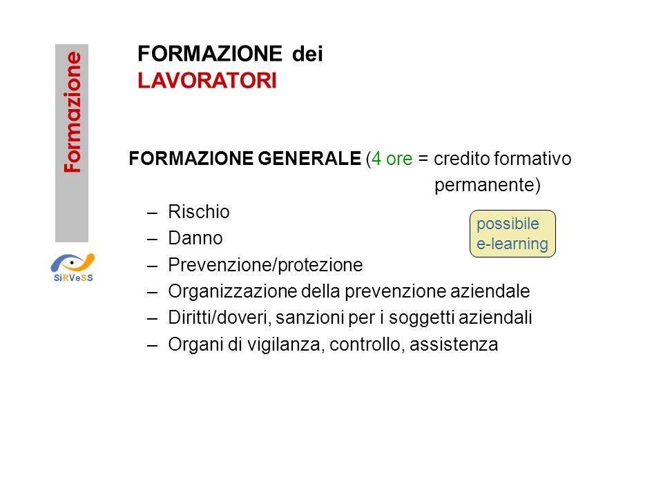 Formazione FORMAZIONE GENERALE (4 ore = credito formativo permanente) –Rischio –Danno –Prevenzione/protezione –Organizzazione della prevenzione aziend