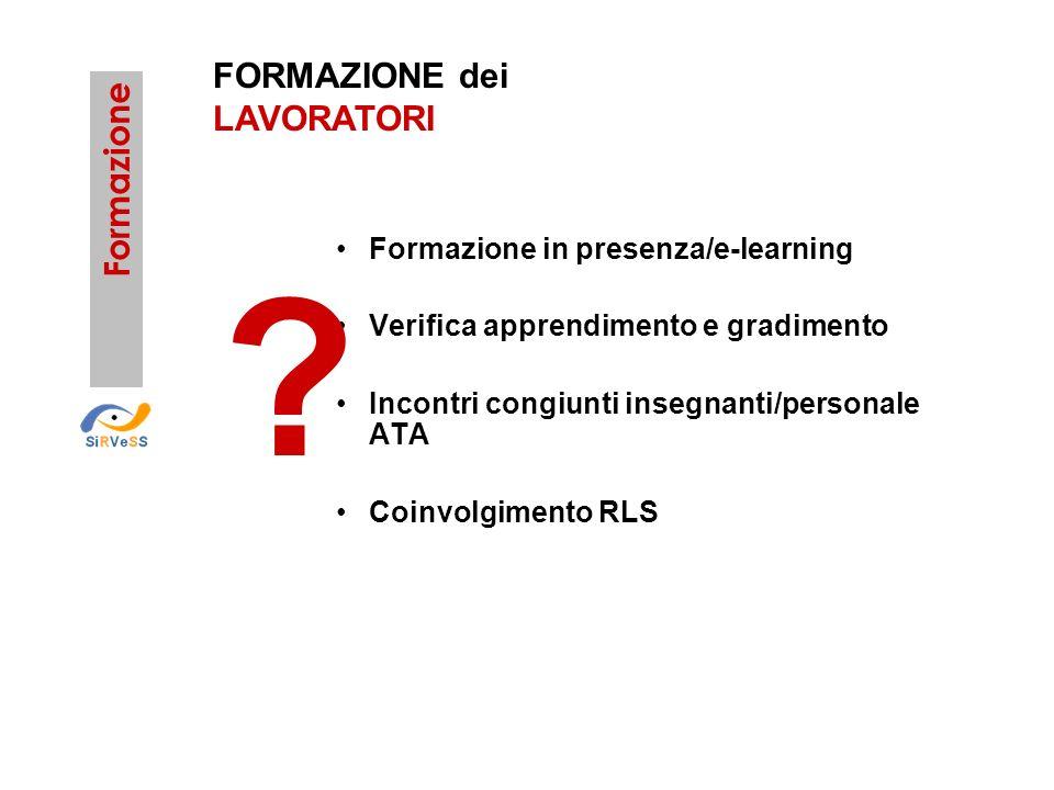Formazione FORMAZIONE dei LAVORATORI Formazione in presenza/e-learning Verifica apprendimento e gradimento Incontri congiunti insegnanti/personale ATA